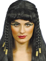 Egyptian Queen Cleopatra Costume Wig Headpiece - Bachelorette Party Wigs - Black Wig with Bangs
