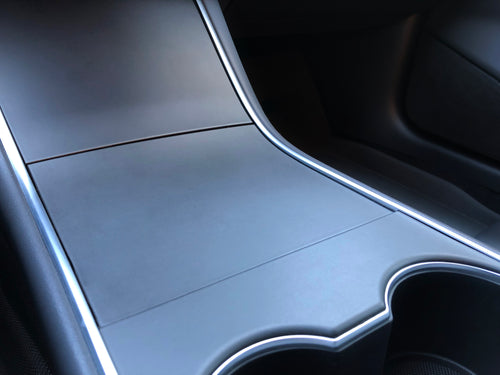 Tesla Model 3 Console Wrap Kit - Brushed Metallic Black