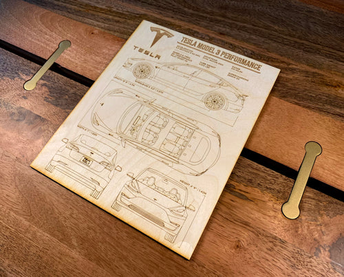 Tesla Model 3 Laser Engraved Wood Blueprint