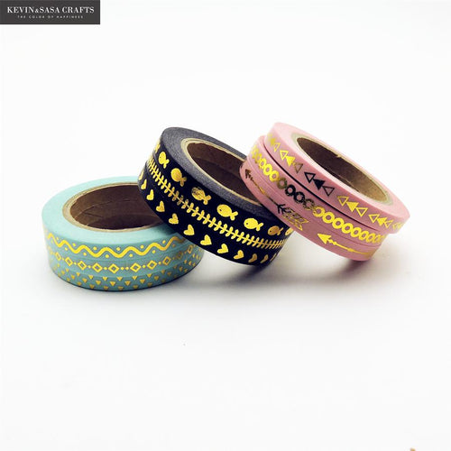 Gold Washi Tape Set of 3 -  Japanese stationery gifts drawing writing calligraphy