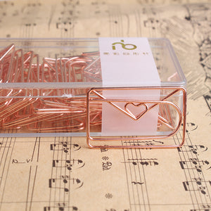 Rose Gold Love Paper Clip -  Japanese stationery gifts drawing writing calligraphy