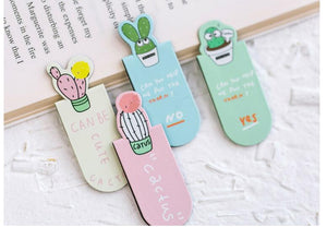 Set Of Magnetic Cactus Bookmarks -  Japanese stationery gifts drawing writing calligraphy