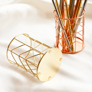 Nordic Style Rose Gold Metal Pen Holder -  Japanese stationery gifts drawing writing calligraphy