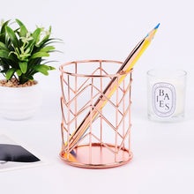 Load image into Gallery viewer, Nordic Style Rose Gold Metal Pen Holder -  Japanese stationery gifts drawing writing calligraphy