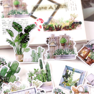 Green Plant stickers 28 Pieces -  Japanese stationery gifts drawing writing calligraphy