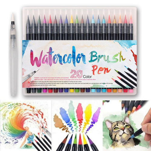 Brush Pens Set 20 Colours -  Japanese stationery gifts drawing writing calligraphy