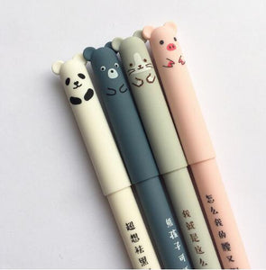 Cute Panda Mouse Piggy Pen Set of 4 -  Japanese stationery gifts drawing writing calligraphy