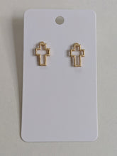 Load image into Gallery viewer, Take Up Your Cross Stud Earrings