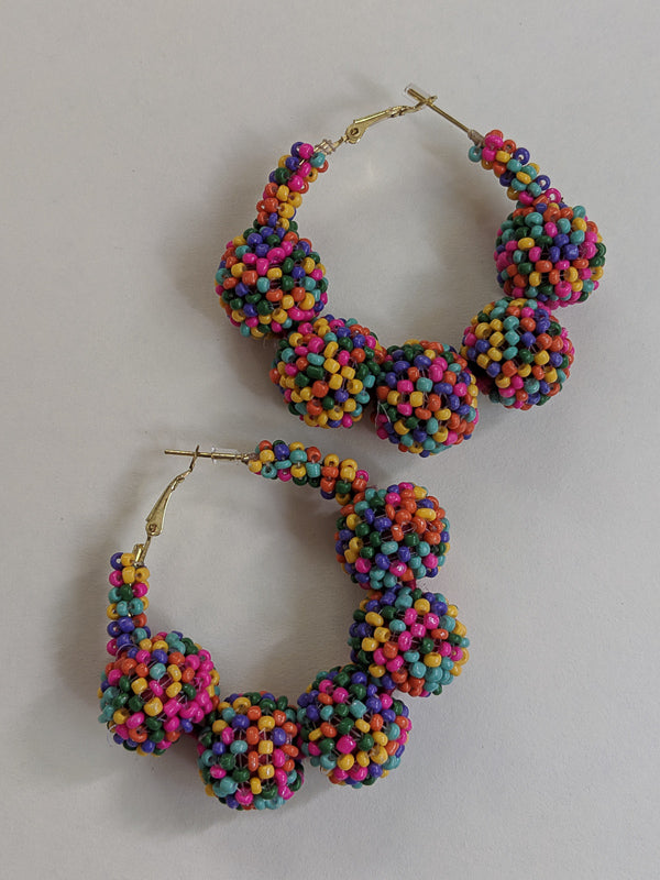 Party Girl Beaded Hoop Earrings