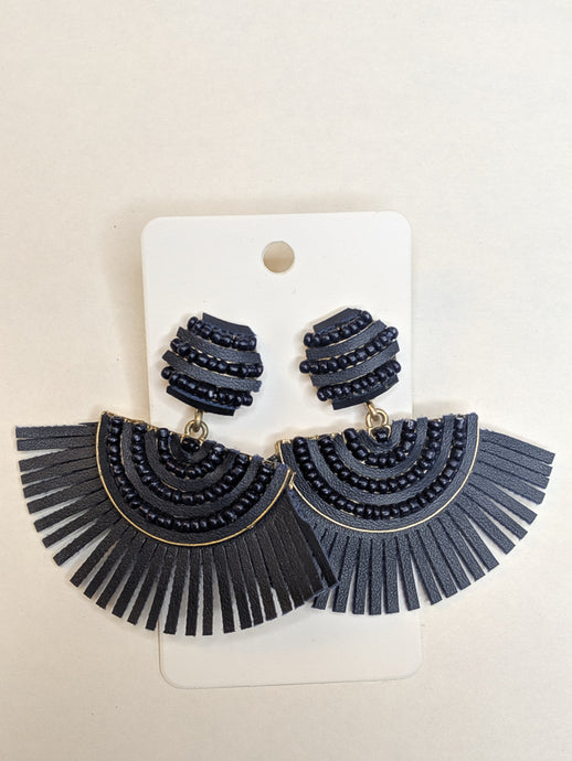 Fringe Benefits Navy Earrings