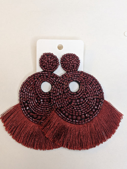 Scarlet Beaded and Fringe Earrings
