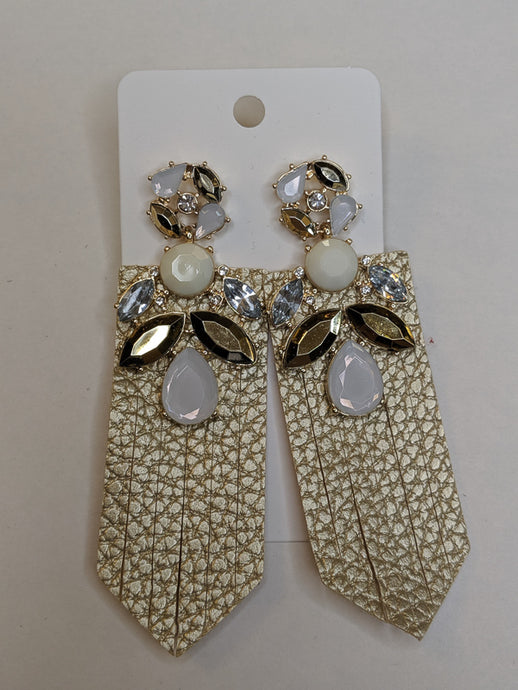 Bardot Leather & Rhinestone Earrings