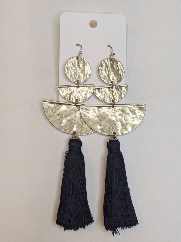 Out To Sea Gold & Navy Tassle Earrings