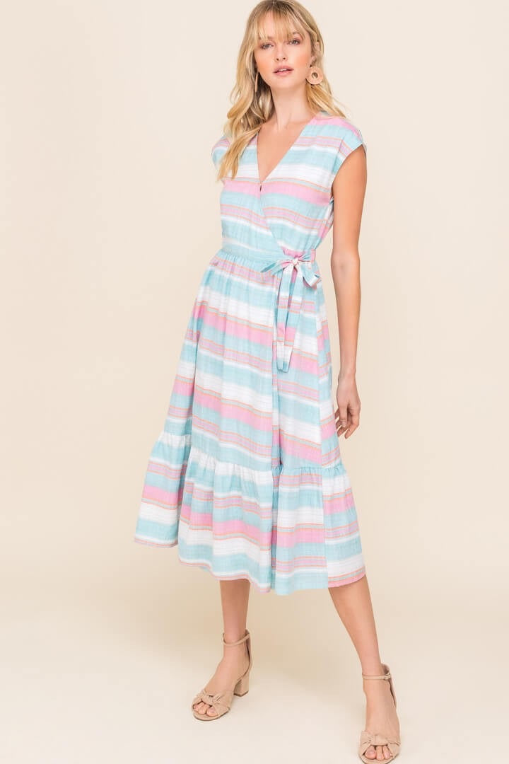 Pretty in Pastels Wrap Dress