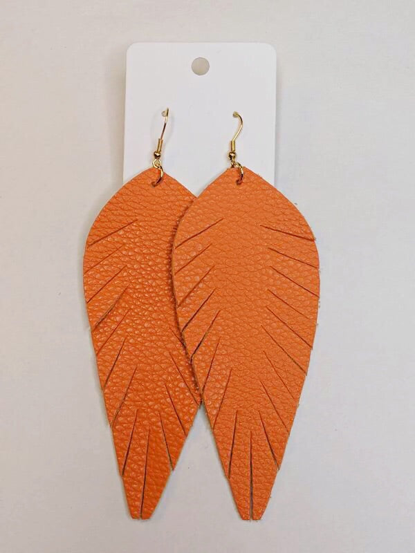 Make A Statement Orange Leather Earrings