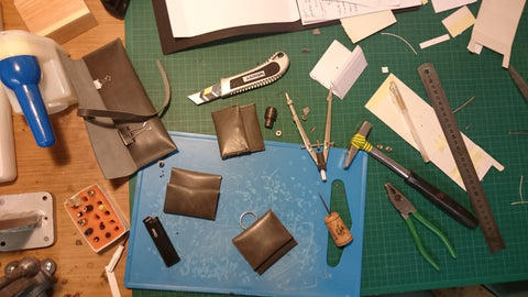 Prototyping a leather coin purse.