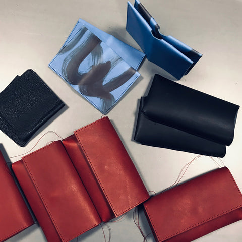 Mokoko Flap Waist Pouch Burgundy, Smartphone Case Black M, Good Business Card Case Blue and Blue Painted, Clip Wallet in Black. Almost done!