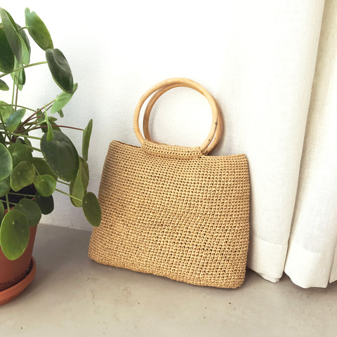 I made a chrocheted summer bag that looks like straw bag. It has two round, bent wood handles and it is made out of paper yarn, so it's fully biodegradeable.