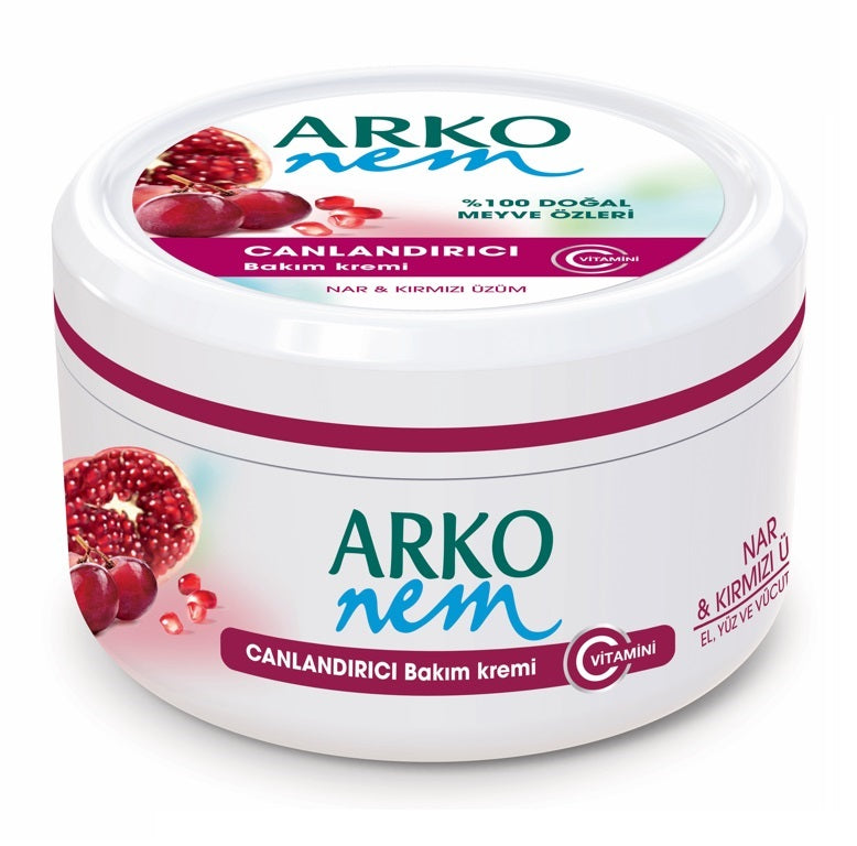 Arko Nem Moisturising Cream Pomegranate & Red Grape 300ml for Face, Hand and Body 1/2/3/6/12 pieces