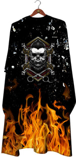 James Hunter Barber Fire Skull Cape Gown Satin Waterproof Anti-static E104 1/2/3/6/12 pieces