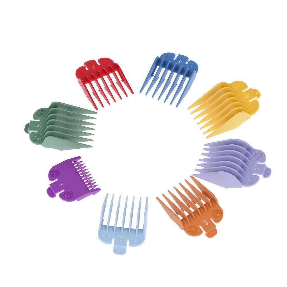 Wahl Colour Coded Hair Clipper Comb Cutting Guide Attachments 8 Sizes with Tray