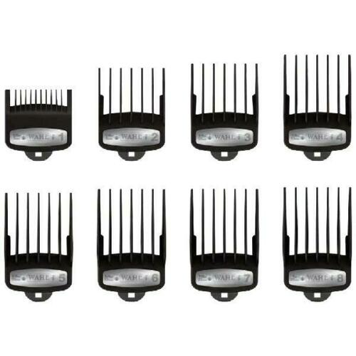 Wahl Premium Hair Clipper Comb Cutting Guide Magnetic Metal Attachments 8 Sizes with Tray