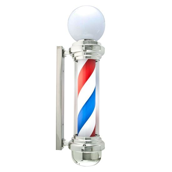 Classic Barber Pole LED Illuminated, Rotating Stripe Bulb Globe Light 85cm in 3 Colours