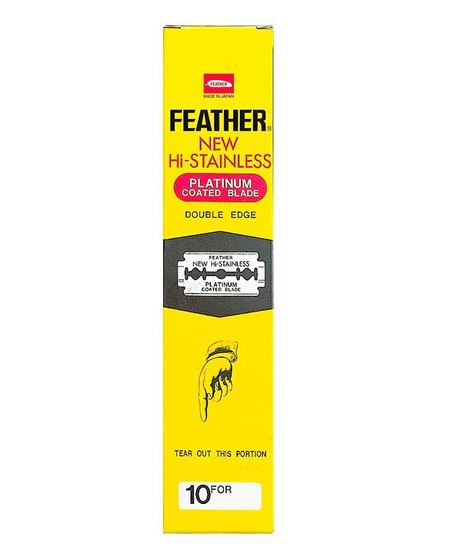 Feather Hi-Stainless Platinum Coated Double Edge Razor Blades 200 Pieces