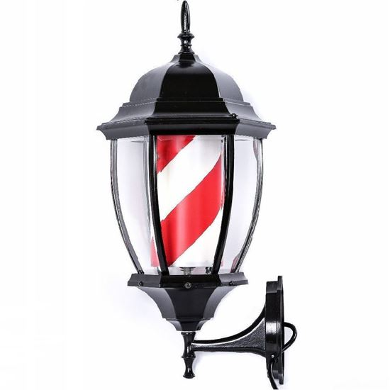 Vintage Lantern Barber Pole LED Illuminated, Rotating Stripe 60cm in 2 Colours