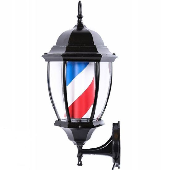 Vintage Lantern Barber Pole LED Illuminated, Rotating Stripe 60cm in 3 Colours