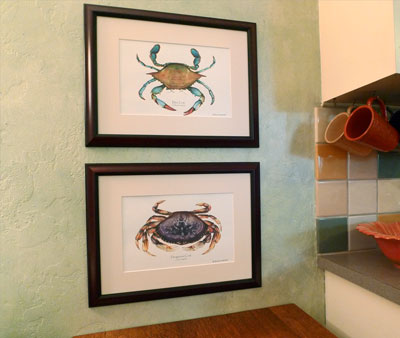 Blue and Dungenous Crab Art Print