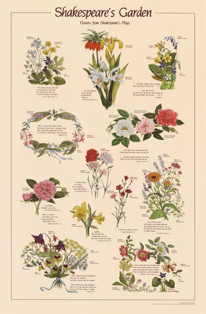 Shakespeare's Garden  Poster - Flowers of Shakespeare's plays
