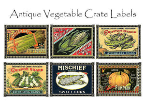 Vegetable Crate Label Notecards