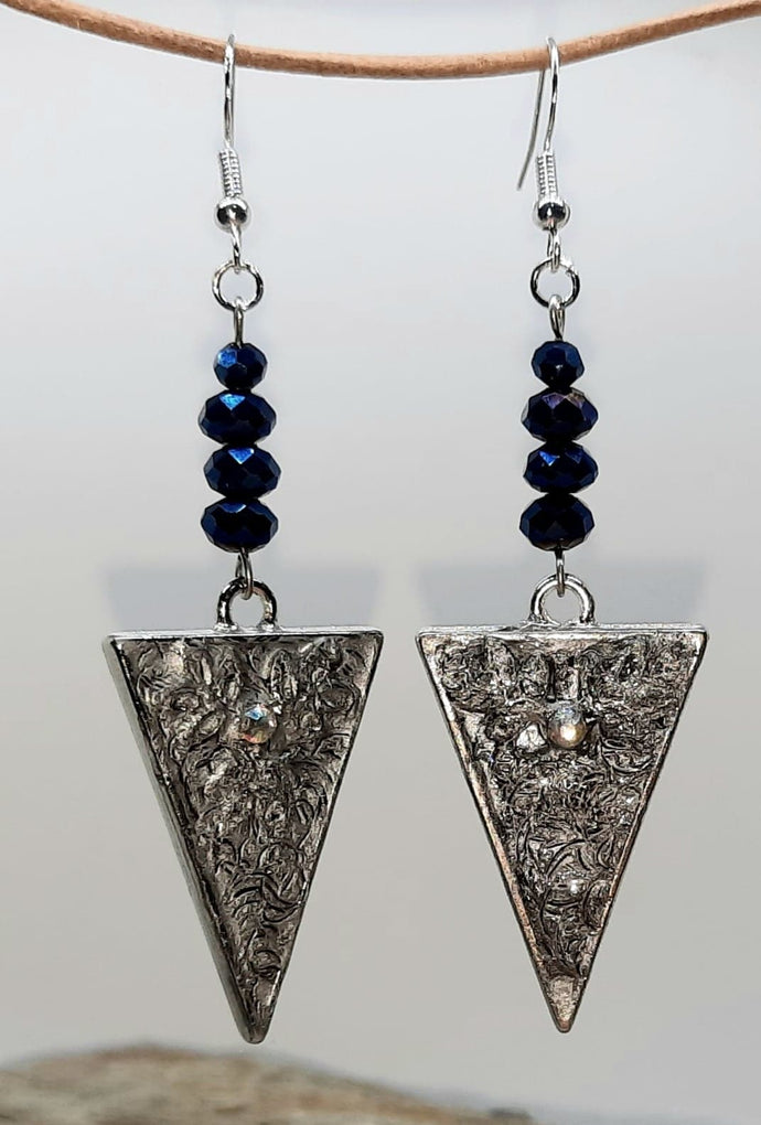 V handmade pendant Beaded blue cobalt Earrings
