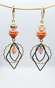 Orange/pink Czech flower gold Earrings