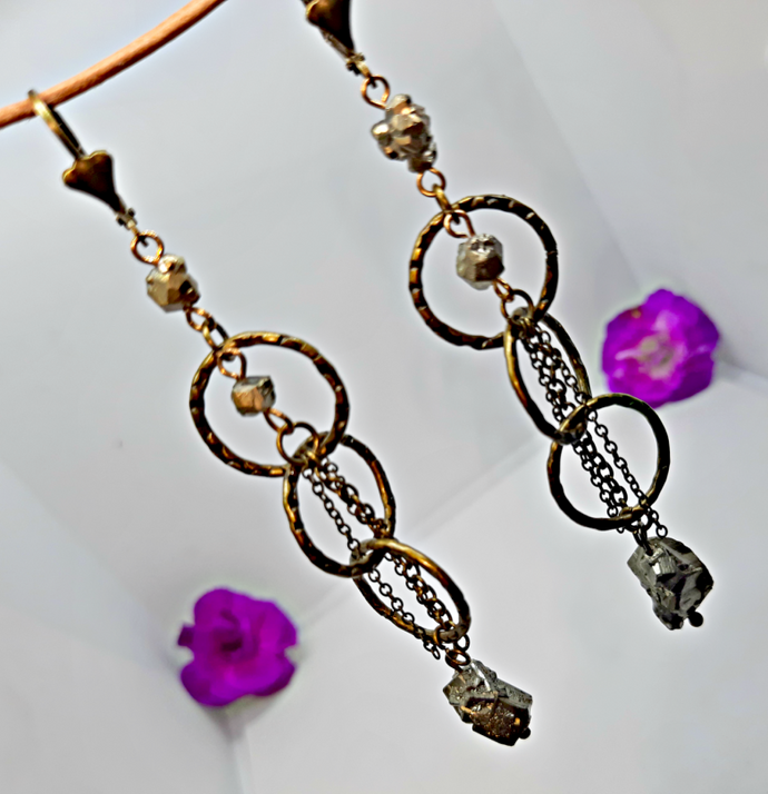 Dangle Pyrite Earrings