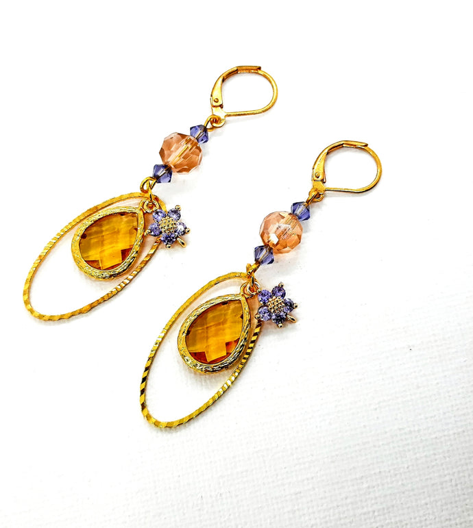 Gold and Purple flower Earrings