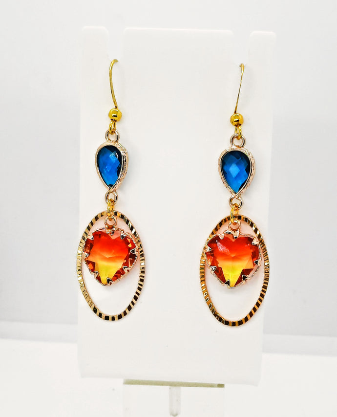 JVD Gold Blue drop connector Earrings
