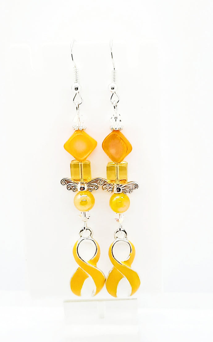 Yellow awareness ribbon beaded earrings