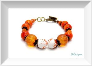 Orange Glass Beaded Bracelet