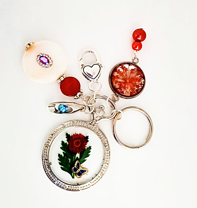 Handmade beaded Keychain dried flower Purse charms