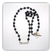 Load image into Gallery viewer, Dark grey pearl Beaded Navy Wife Necklace