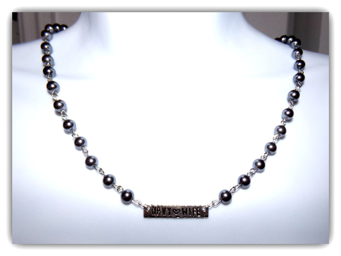 Dark grey pearl Beaded Navy Wife Necklace