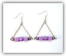 Load image into Gallery viewer, Purple white Acrylic Earrings