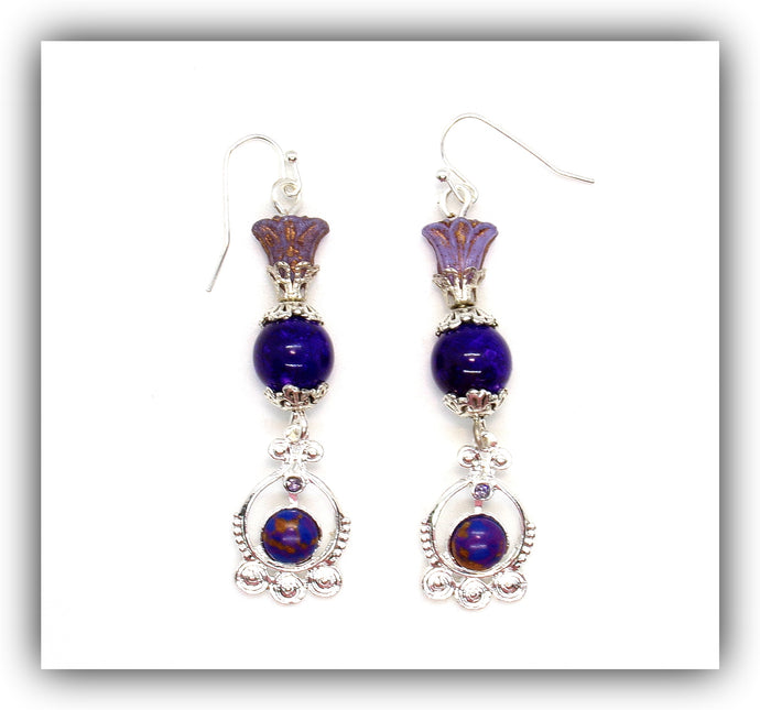 Beaded purple Silver circle Earrings