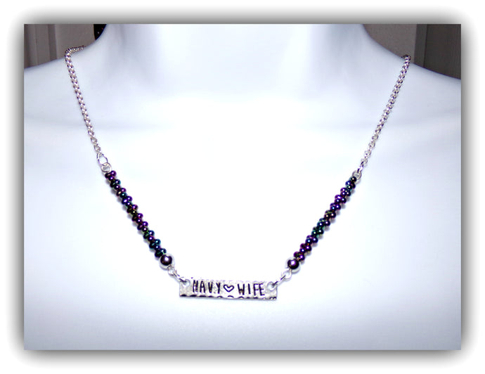 Seed Bead Navy Wife Necklace