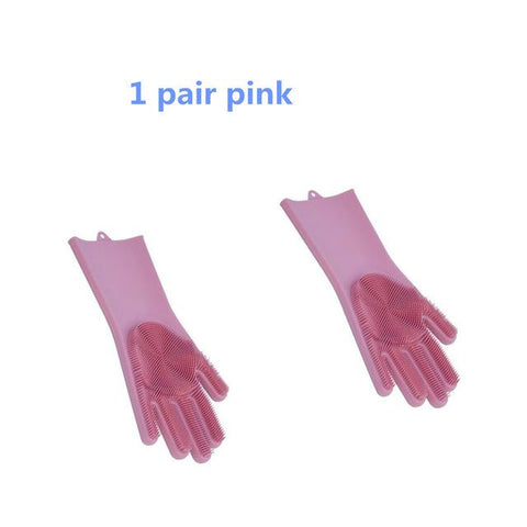 1 Pair Magic Silicone Rubber Dish Washing Glove, Eco-Friendly Scrubber Cleaning For Multipurpose Kitchen, Bedroom, Bathroom, Hair Care