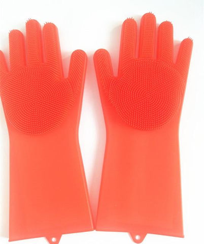 Image of 1 Pair Magic Silicone Rubber Dish Washing Glove, Eco-Friendly Scrubber Cleaning For Multipurpose Kitchen, Bedroom, Bathroom, Hair Care