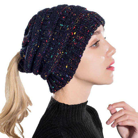 Image of Ponytail Beanie Hat Winter Skullies, Warm Knitted Hats - Fashion