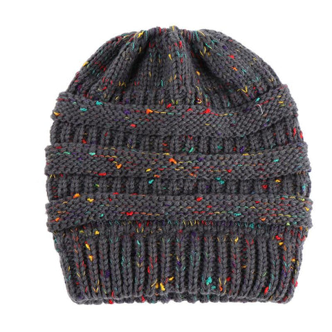 Ponytail Beanie Hat Winter Skullies, Warm Knitted Hats - Fashion